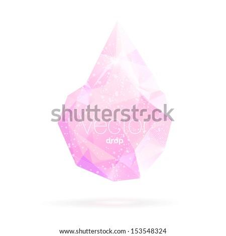 Geometric crystal pink drop. Vector.  - stock vector