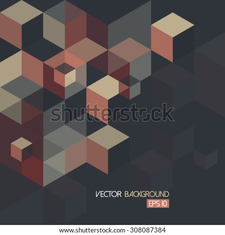 Geometric Cube Hexagon Pattern - Illustration - stock vector
