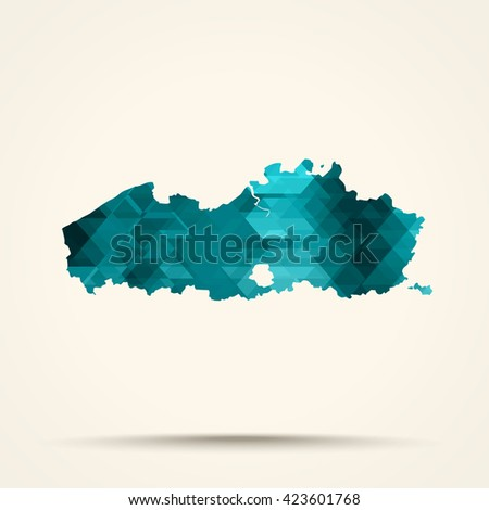 Geometric cyan map of Flanders flag colors