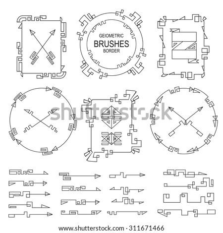 Geometric Decorborder Brushesarrow Frame Setisolated Vintage Stock