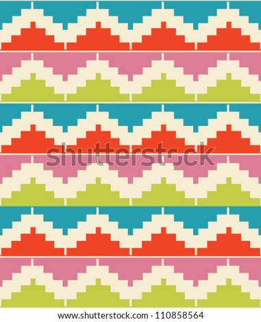 Geometric decorative seamless background. Colorful abstract ethnic pattern. - stock vector