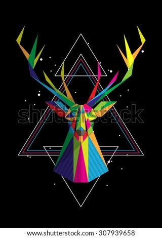 Geometric deer head, colourful vector background - stock vector