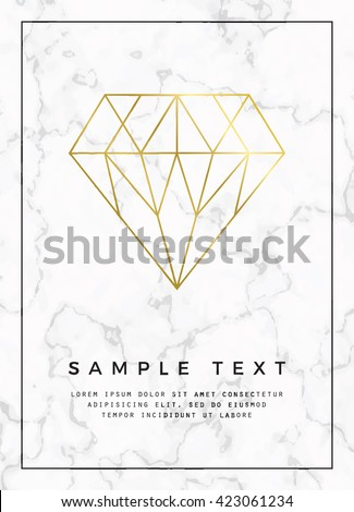 Geometric design for poster, brochure or business card, with marble texture and gold detail