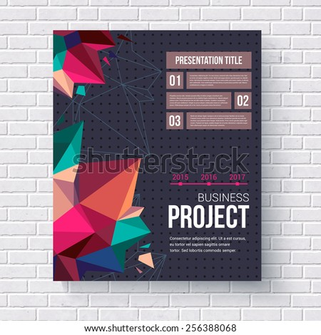 Geometric design template for a business project with triangular crystal points and editable text boxes hanging on a white brick wall, vector illustration - stock vector
