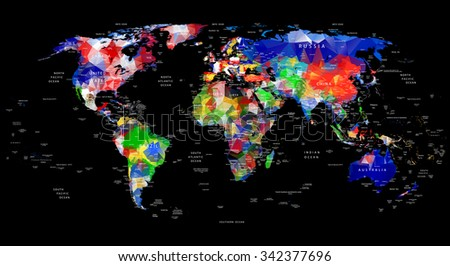 Geometric design world map country city stock vector 342377696 geometric design world map with country and city names painted into country flags color gumiabroncs Gallery