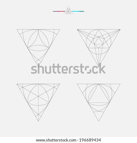 Geometric drawing, triangle design, vector illustration - stock vector