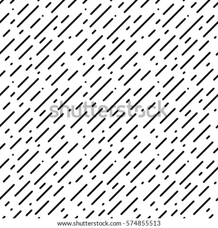 Geometric dynamic black and white background. Rain pattern. Abstract modern vector texture for your design (wrapping paper, fabric, wallpaper, web). Seamless pattern with black diagonal rounded lines.