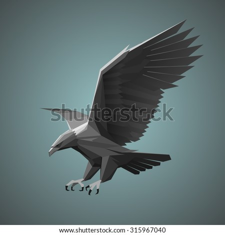 Geometric eagle illustration - stock vector