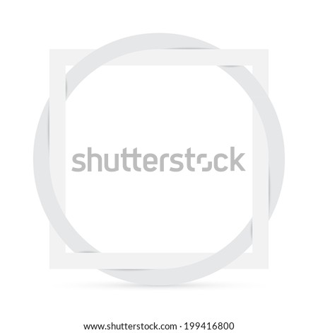 Geometric element, square with circle, symbol of connection, white design, vector illustration - stock vector
