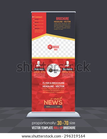 Geometric Elements, Low Poly Style Shine Roll-Up Banner, Advertising Vector Background Design - stock vector