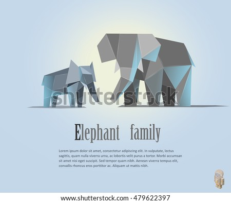 Geometric  elephant family  illustration in polygonal style. Elephant low poly. African mammal. Animal triangle icon. African elephant. Modern isolated object
