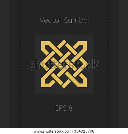 Geometric emblem. Vector arabic ornamental symbol