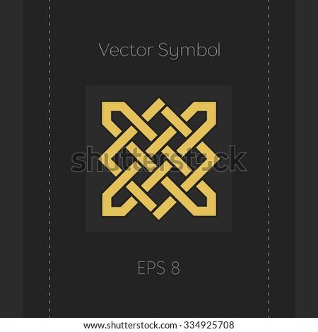 Geometric emblem. Vector arabic ornamental symbol - stock vector