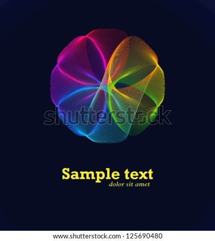 Geometric entwined wheels in color rainbow. Business abstract icon. As sign, symbol, logo, web, label, emblem. - stock vector