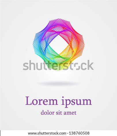 Geometric entwined wheels in color rainbow. Business abstract icon. As sign, symbol,  web, label, emblem. Vector illustration. - stock vector
