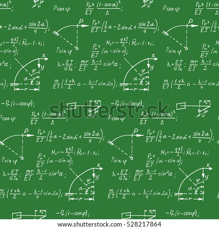 Geometric equations on school board. Education background. Vector hand-drawn seamless pattern.