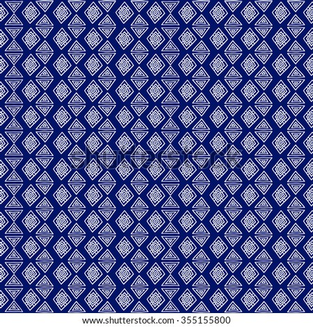 Geometric, ethnic, seamless pattern, blue and white graphics. Traditional folk structure. For the design and decoration background, wallpaper, packaging, fabrics, textiles.