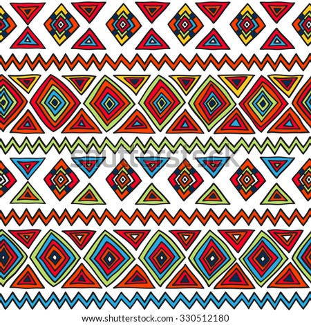 Geometric, ethnic, seamless pattern. Traditional folk structure, pattern of triangles, stripes, diamonds and zigzags. Pattern for design background, packaging, wallpaper, fabrics, textiles