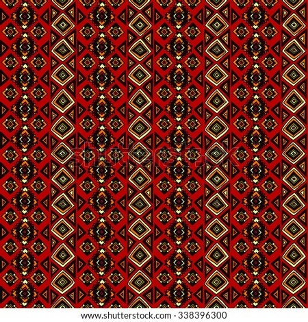 Geometric, ethnic, seamless pattern. Traditional folk structure, pattern of triangles, stripes, diamonds and zigzags. For the design and decoration background, wallpaper, packaging, fabrics, textiles.