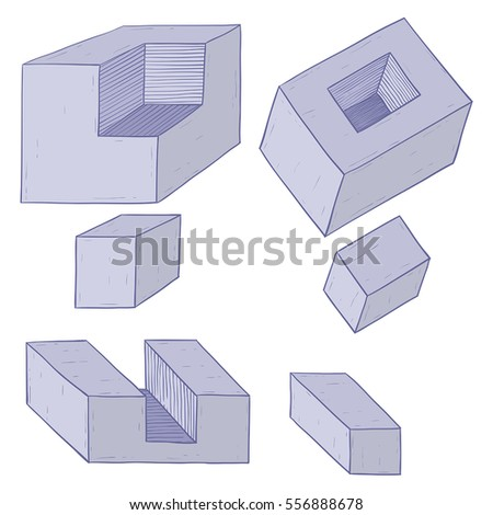 Geometric figures. Cube shapes. Hand drawn sketch. Vector illustration isolated on white background.