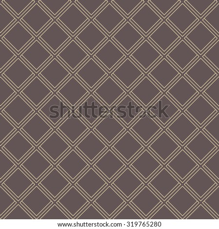 Geometric fine abstract vector brown background with golden diagonal lines. Seamless modern pattern