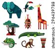 Geometric flat Africa animals and plants vector - stock photo
