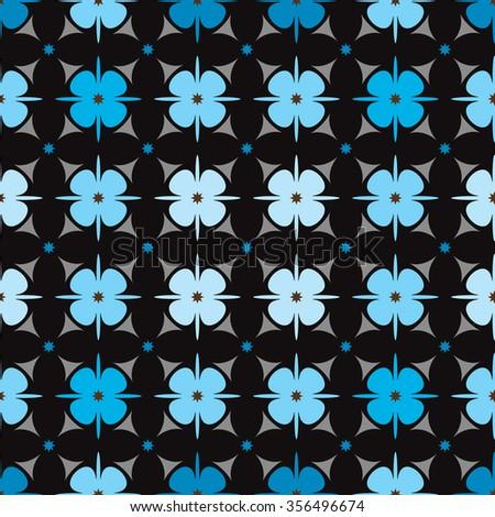 Geometric flower pattern seamless. vector illustration. floral geometry texture on dark background - stock vector