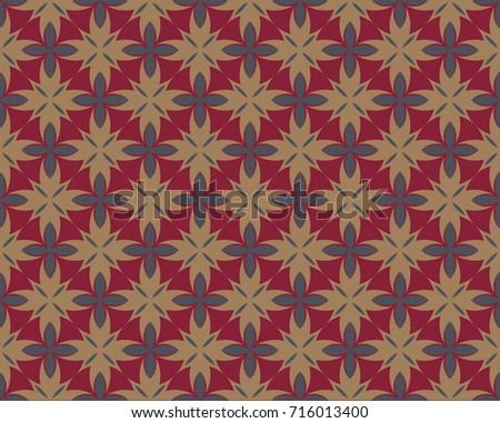 Geometric flower pattern vector design for wallpaper, textile, background red