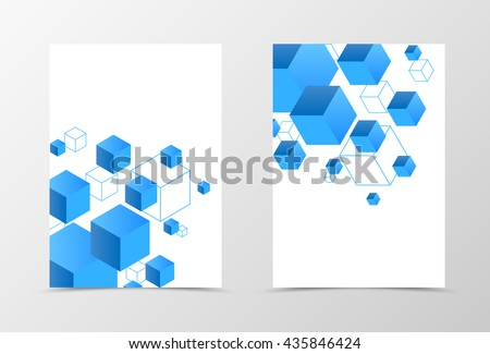 Geometric flyer template design. Abstract flyer template with 3d blue squares. Digital flyer design. Vector illustration - stock vector