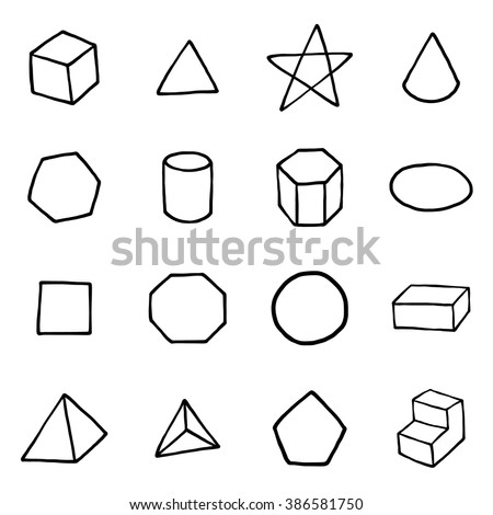 geometric form objects or icons set/ cartoon vector and illustration, hand drawn style, isolated on white background. - stock vector