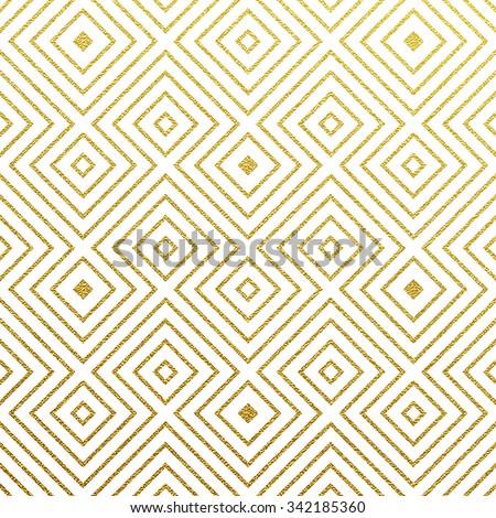 Geometric gold glittering seamless pattern on white background.  - stock vector