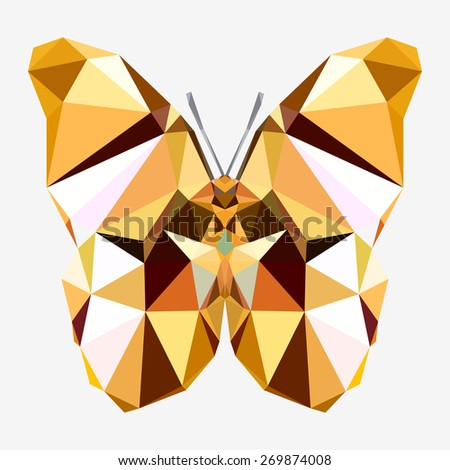 Geometric golden butterfly with many triangles - stock vector
