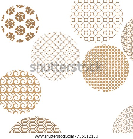 Geometric golden patterns formed circles on white with clipping mask. Gold abstract shapes. Asian style ornaments. Graphic design for cover,poster, card, template