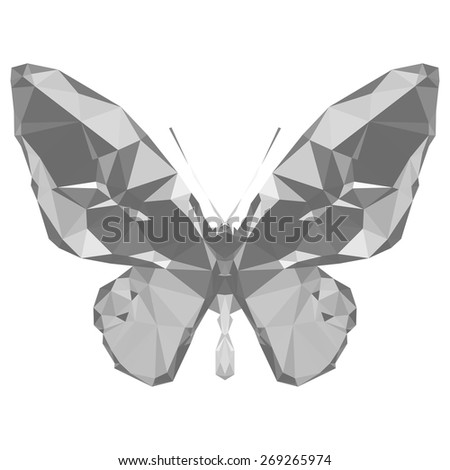 Geometric gray butterfly with many triangles - stock vector