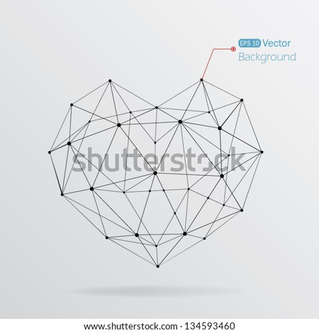 Geometric heart background with lines - stock vector