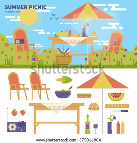 Geometric illustartion of summer picnic in the garden with flowers. Rest and weekend concept. Umbrella, table, chairs, food, fruits, wine and camera isolated on white background - stock vector