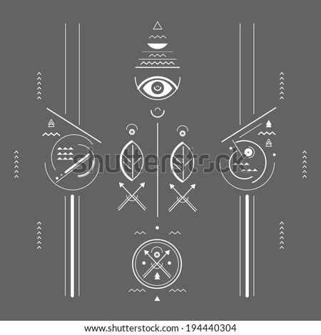 geometric illustration style mystical signs - stock vector