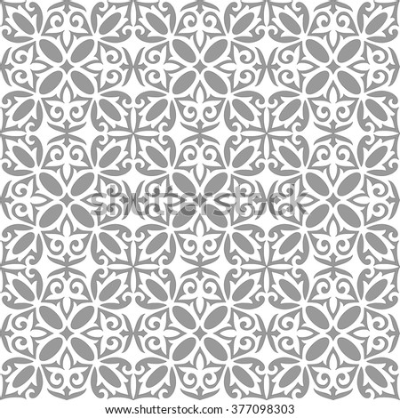 Geometric Islamic Seamless Pattern Arabesque grey and white, patchwork