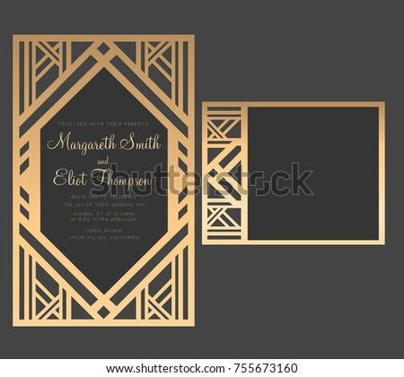 Geometric Laser Cut Wedding Invitation Art Deco Design