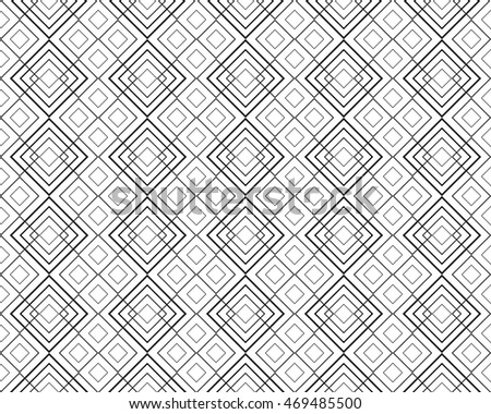 Geometric line pattern, rhombus, squares, seamless white and black vector background