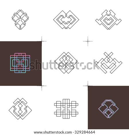 Geometric linear art elements. Set of hipster style logo design. Symmetrical line shapes  - stock vector