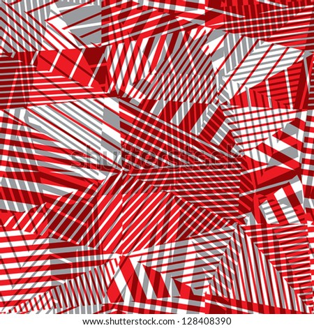 Geometric lined seamless pattern, red and grey vector background, eps 8. - stock vector