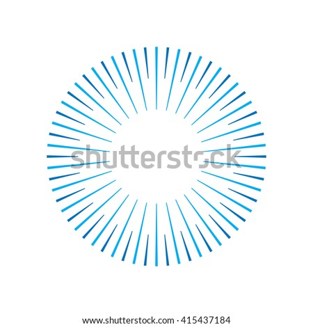 Geometric lines in circle or round shape.Stylized sun or fireworks.Rays radiating from a central object or source of light. Starburst shape.Light rays of burst on white background.Vector illustration.