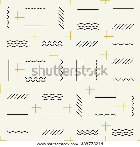 Geometric lines seamless pattern with golden elements - stock vector