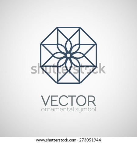 Geometric logo template. Vector ornamental lineart symbol - stock vector