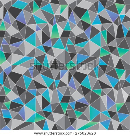 Geometric low poly graphic repeat pattern made out of triangular facets in shades of gray and blues. Vector pattern. - stock vector