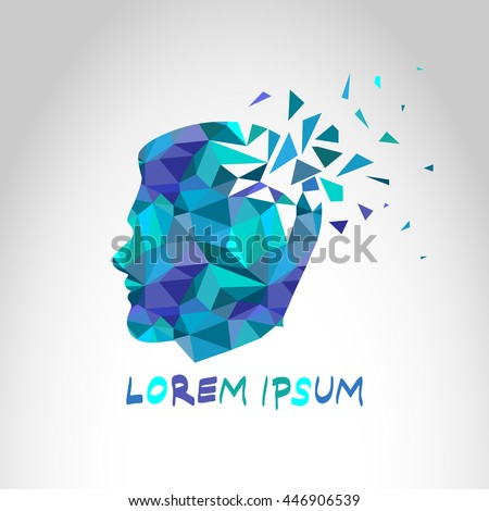 Geometric Low Poly Human Head Silhouette Stock Vector