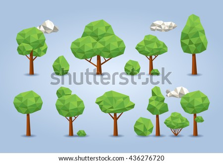 Geometric low poly tree set. deciduous trees, bushes and clouds - stock vector
