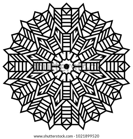 Coloring book page zigzag ornament round element for design decorative