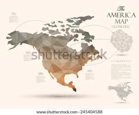 Geometric map elements-continents-3d-geometric-America - stock vector
